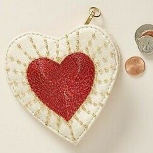 ANTHROPOLOGIE EMBELLISHED HEART COIN POUCH WALLET